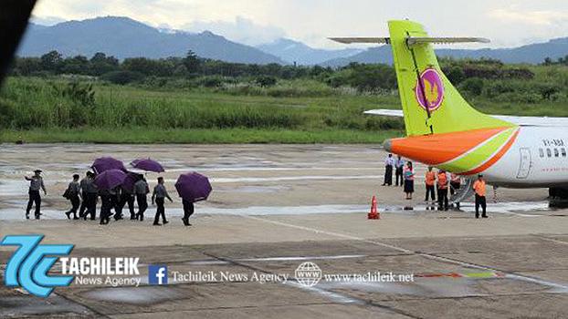 အမျိုးသားကြီးပွားတိုးတက်ရေး ကုမ္ပဏီ ပိုင်ရှင် ဦးစိုးထွန်းရှိန်ကို တာချီလိတ်လေဆိပ်မှ လေယာဥ်ပေါ်ကို ခေါ်ဆောင်သွားစဥ်
