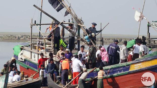 လှေစီးဒုက္ခသည်တွေ စစ်တွေမြို့နယ် သဲချောင်းကျေးရွာကို ၂၀၁၈ နိုဝင်ဘာ ၂၁ ရက်နေ့က ပြန်လည်ရောက်ရှိစဉ်
