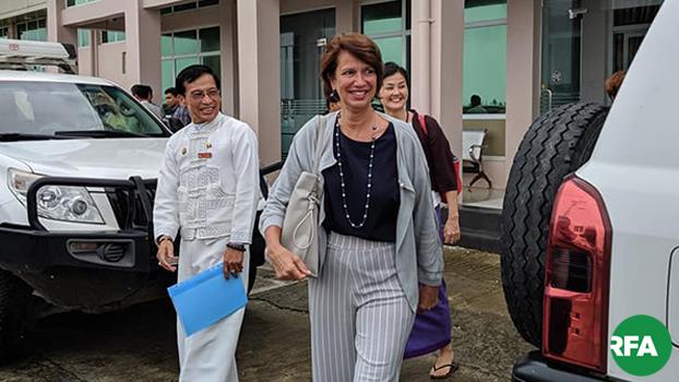 ကုလအတွင်းရေးမှူးချုပ်ရဲ့ မြန်မာနိုင်ငံဆိုင်ရာ အထူးကိုယ်စားလှယ် ခရစ်စတင်းဘာဂနာ စစ်တွေမြို့ကို ၂၀၁၉ ဇူလိုင် ၁၀ ရက်နေ့က ရောက်ရှိလာစဉ်