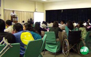 မသန်စွမ်းသူများ အခွင့်အရေးနဲ့ အလုပ်အကိုင်ရရှိရေးဆိုင်ရာ နှီးနှောဖလှယ်ပွဲကို နိုဝင်ဘာလ(၁၅)ရက်နေ့က IBC မှာ ကျင်းပနေပုံ
