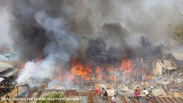 ချင်းပြည်နယ် မင်းတပ်မြို့ စည်ပင်သာယာဈေး ဖေဖော်ဝါရီလ ၂၃ ရက်နေ့က မီးလောင်ခဲ့စဉ်