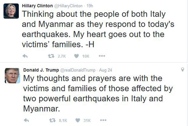 မြန်မာနဲ့ အီတလီက မြေငလျင်ဒဏ်ခံရသူတွေအတွက် ဝမ်းနည်းကြောင်း အမေရိကန်သမ္မတလောင်း Hillary Clintion နဲ့ Donal J.Trump တို့က Twitter မှာ ရေးသားထုတ်ပြန်ထားစဉ်
