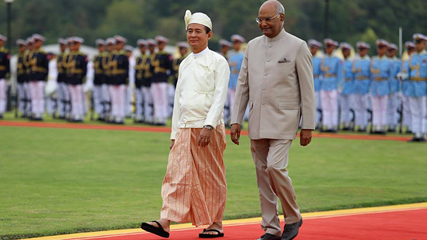 မြန်မာကို ချစ်ကြည်ရေးခရီးလာတဲ့ အိန္ဒိယသမ္မတကို သမ္မတ ဦးဝင်းမြင့် ၂၀၁၈ ဒီဇင်ဘာလ ၁၁ ရက်နေ့က ကြိုဆိုစဉ်