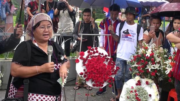 ၂ဝ၁၉ သြဂုတ်လ ၁၂ ရက်နေ့က ရန်ကုန် မဟာဗန္ဓုလပန်းခြံရှေ့တွင် ကျင်းပသည့် ၆၉ နှစ်မြောက် ကရင်အာဇာနည်နေ့ အခမ်းအနားတွင်တွေ့ရသည့် နော်အုန်းလှ။