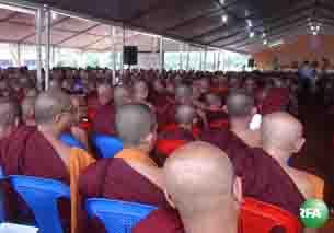 မြန်မာနိုင်ငံလုံးဆိုင်ရာ ဘုန်းတော်ကြီးသင်ပညာရေး ညီလာခံကို မေလ ၁၉ ရက်နေ့က ရှမ်းပြည်နယ်တောင်ပိုင်း ဟိုပုံးမြို့မှာ စတင်ကျင်းပစဉ်