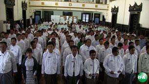 ရန်ကုန်မြို့တော်စည်ပင်သာယာရေး ကော်မတီအဆင့်ဆင့်မှာ တာဝန်ထမ်းဆောင်ဖို့ ရွေးချယ်တင်မြှောက်ခံရတဲ့ ကိုယ်စား လှယ် ၁၁၅ ဦး ဇန်နဝါရီလ ၆ ရက်နေ့က ကျမ်းသစ္စာကျိန်ဆိုစဉ်