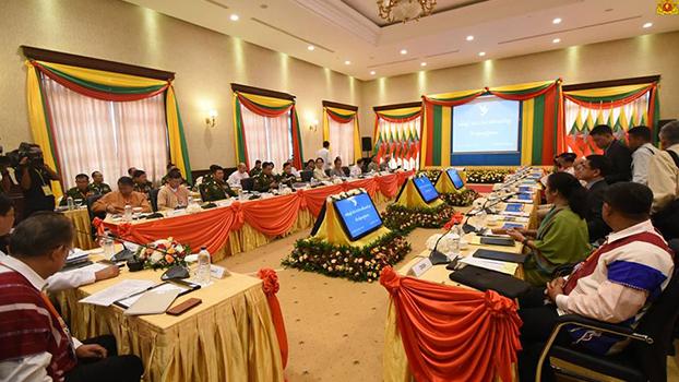 အစိုးရနဲ့ NCA-S-EAO ခေါင်းဆောင်များ သီးသန့်အစည်းအဝေး နောက်ဆုံးနေ့ကို ၂၀၁၈ အောက်တိုဘာလ ၁၆ ရက်နေ့က နေပြည်တော်မှာကျင်းပစဉ်