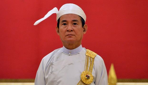 ၂ဝ၁၈ စက်တင်ဘာလက နိုင်ငံခြားသံတမန်သစ်ခန့်အပ်ပွဲ အခမ်းအနားကို တက်ရောက်လာသော နိုင်ငံတော်သမ္မတ ဦးဝင်းမြင့်။