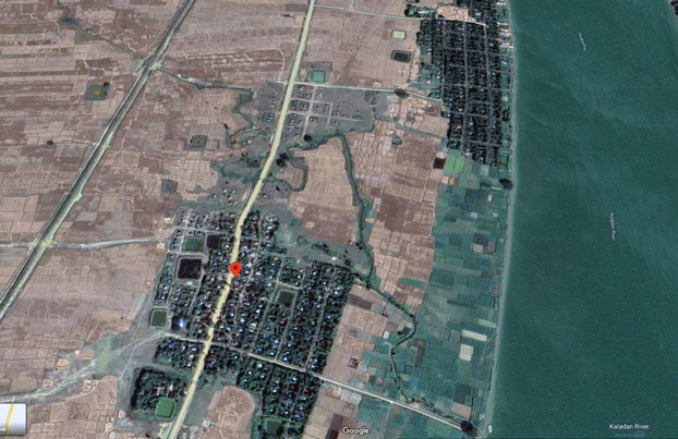ရခိုင်ပြည်နယ် ကျောက်တော်မြို့နယ် ဘုရားပေါင်းရွာနှင့် တောင်ပေါက်ရွာကို Google Map မှတဆင့် တွေ့ရပုံ။