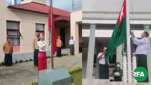 အမျိုးသားဒီမိုကရေစီအဖွဲ့ချုပ် NLD ပါတီနဲ့ ပြည်ထောင်စုကြံ့ခိုင်ဖွံ့ဖြိုးရေးပါတီ USDP ပါတီတို့ အလံတင်အခမ်းအနားကို ၂၀၂၀ စက်တင်ဘာလအတွင်းက နေပြည်တော်မှာ ပြုလုပ်ခဲ့စဉ်