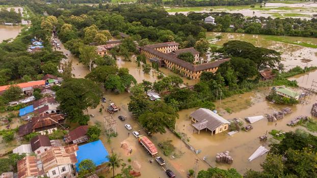 ပဲခူးတိုင်းဒေသကြီး အနောက်ပိုင်း ပြည်ခရိုင်၊ ပေါင်းတည်မြို့မှာ ရေကြီးနေတာကို ၂၀၁၉၊ စက်တင်ဘာ ၁ ရက်နေ့က တွေ့ရစဉ်