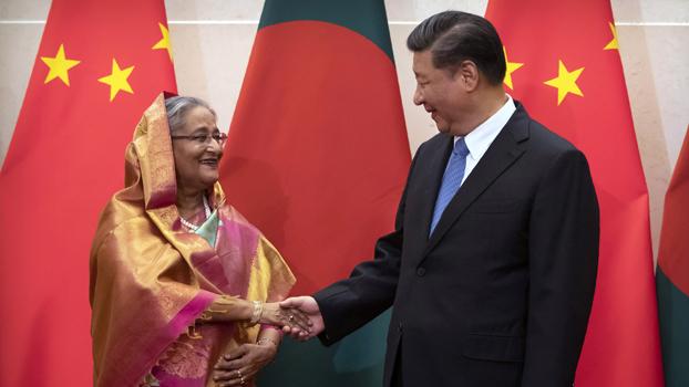 ဘင်္ဂလားဒေ့ရှ်ဝန်ကြီးချုပ် ရှိတ်ဟာဆီနာနဲ့ တရုတ်သမ္မတ ရှီကျင်းပင်တို့ ၂၀၁၉၊ ဇူလိုင် ၅ ရက်နေ့က  ဘေကျင်းမြို့မှာ တွေ့ဆုံစဉ်