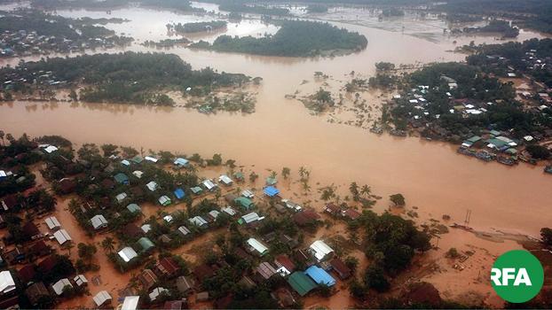 မွန်ပြည်နယ် ရေးမြို့မှာ ရေကြီးနေတာကို ၂၀၁၉၊ သြဂုတ် ၁၂ ရက်နေ့က တွေ့ရစဉ်
