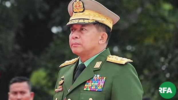 တပ်မတော်ကာကွယ်ရေးဦးစီးချုပ် ဗိုလ်ချုပ်မှူးကြီးမင်းအောင်လှိုင် ကို ၂၀၁၉ ဇူလိုင် ၁၉ နေ့မှာတွေ့ရစဉ်