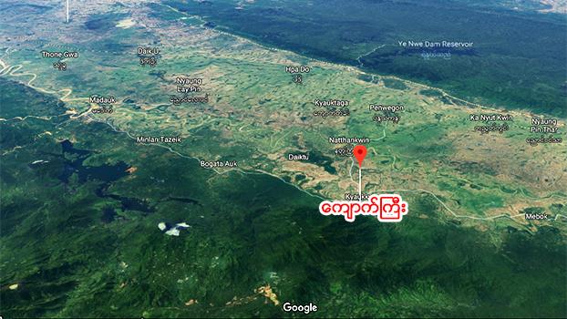 ပဲခူးတိုင်း ကျောက်ကြီးမြို့ တည်နေရာကို တွေ့ရစဥ်