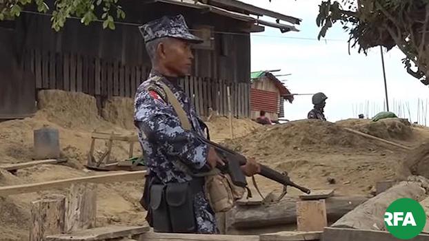 ရခိုင်ပြည်နယ်မှာ ဘူးသီးတောင်မြို့နယ်မှာ လုံခြုံရေးယူနေတဲ့ နယ်ခြားစောင့်ရဲတွေကို ၂၀၁၉ ဇန်နဝါရီ ၇ ရက်နေ့က တွေ့ရစဉ်