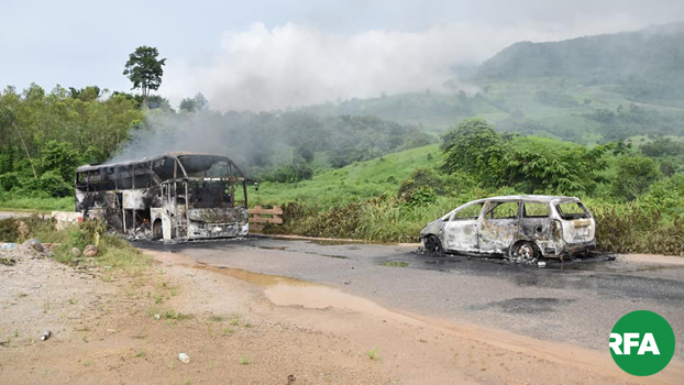 သိန္နီ-လားရှိုး လမ်းပိုင်း ပန်ဖတ်ရွာနဲ့ မိုင်းလီရွာကြားတံတားပေါ်မှာ မီးရှို့ခံခဲ့ရတဲ့ ခရီးသည်မှန်လုံကားတစ်စီးနဲ့ အိမ်စီးကားငယ်တစ်စီးကို ၂၀၁၉၊ သြဂုတ် ၃၀ ရက်နေ့က တွေ့ရစဉ်